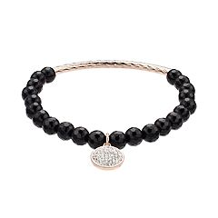 love this life Onyx Bead & Crystal Charm Stretch Bracelet