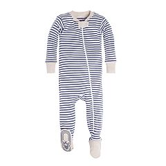 Baby Boy Burt's Bees Baby Organic Striped Footed Pajamas