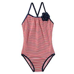 Girls 4-8 OshKosh B'gosh® Ruby White Striped One-Piece Swimsuit