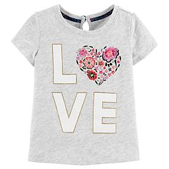 Toddler Girl OshKosh B'gosh® 'LOVE' Keyhole Slubbed Glitter Graphic Tee