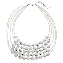 White Bead Multi Strand Statement Necklace