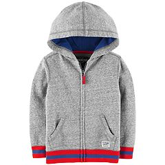 Toddler Boy OshKosh B'gosh® Striped Hem Knit Zip Hoodie