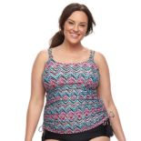 Plus Size Croft & Barrow® D-Cup Printed Tankini Top