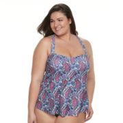 Plus Size Croft & Barrow® Medallion Crochet Tankini Top