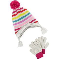 Girls 4-14 Carter's Heidi Pom Striped Hat & Gloves Set