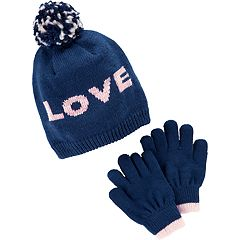 Girls 4-14 Carter's Pom 'Love' Hat & Gloves Set