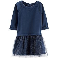 Baby Girl Carter's French Terry Glittery Tulle Dress