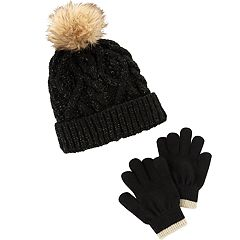 Girls 4-14 Carter's Pom Shimmer Hat & Gloves Set