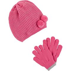 Girls 4-14 Carter's Double Pom Hat & Gloves Set