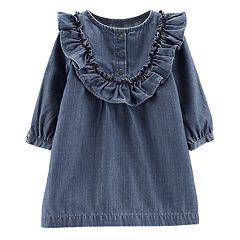 Baby Girl Carter's Ruffled Chambray Dress