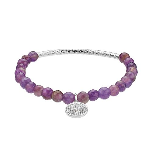 love this life Amethyst Bead & Crystal Charm Stretch Bracelet