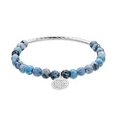 love this life Blue Jasper Bead & Crystal Charm Stretch Bracelet