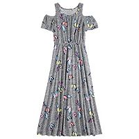 Girls 7-16 & Plus Size Cold-Shoulder Printed Maxi Dress