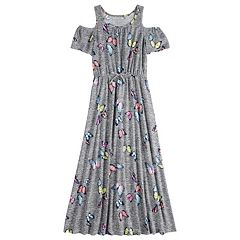 Girls 7-16 & Plus Size Cold-Shoulder Printed Maxi Dress