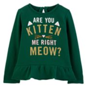 "Baby Girl Carter's ""Are You Kitten Me Right Meow"" Glittery Graphic Top"