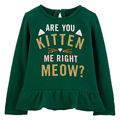 Baby Girl Carter's 'Are You Kitten Me Right Meow' Glittery Graphic Top