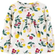 Baby Girl Carter's Floral Sateen Henley Top