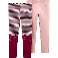 Baby Girl Carter's 2-pack Striped Cat & Crocheted Solid Leggings