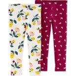 Baby Girl Carter's 2-pack Floral & Kitty Leggings