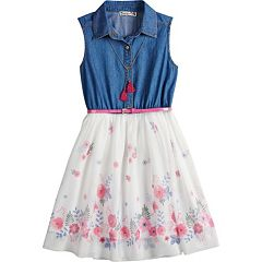 Girls 7-16 Knitworks Sleeveless Belted Denim Dress with Necklace