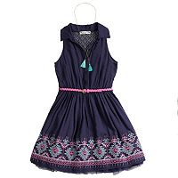 Girls 7-16 Knitworks Embroidered Belted Shirt Dress with Necklace