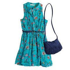 Girls 7-16 Knitworks Floral Belted Sleeveless Dress & Purse Set