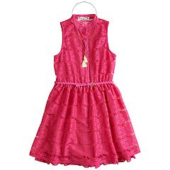 Girls 7-16 Knitworks Lace Belted Shirt Dress with Necklace