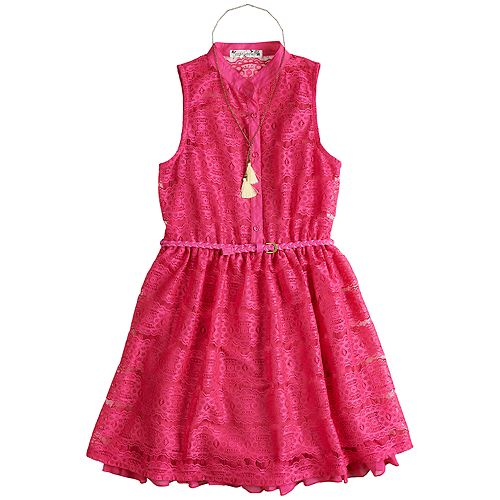 f022f9528 Girls 7-16 Knitworks Lace Belted Shirt Dress with Necklace