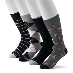 Men's Croft & Barrow® 4-Pack Opticool Novelty Patterned Crew Socks