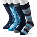 Men's Croft & Barrow® 4-Pack Opticool Novelty Patterned Crew Socks