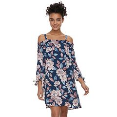 Juniors' Lily Rose Floral Off-the-Shoulder Shift Dress
