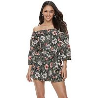 Juniors' Lily Rose Striped Floral Off-the-Shoulder Belted Romper