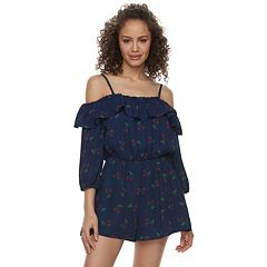 Juniors' Lily Rose Ruffled Cherry Off-the-Shoulder Romper