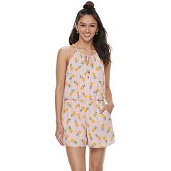 Juniors' Lily Rose Pineapple Halter Romper