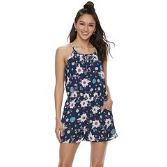 Juniors' Lily Rose Floral High Neck Romper