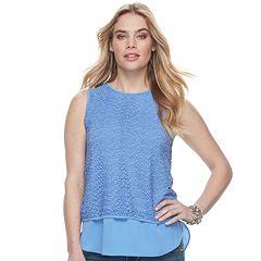 Women's Apt. 9® Mixed-Media Crochet Tank