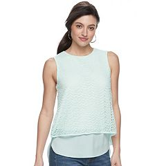 Women's Apt. 9® Mixed-Media Crochet Tank
