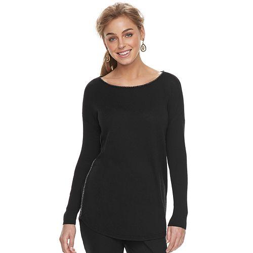 Women's Apt. 9® Lurex Boatneck Tunic Sweater