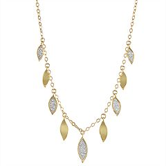 18K Gold Over Silver Glitter Leaf Necklace