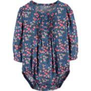 Baby Girl OshKosh B'gosh® Floral Pintuck Henley Bodysuit