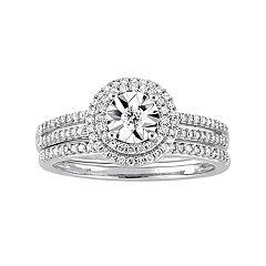10k White Gold 3/8 Carat T.W. Diamond Halo Ring
