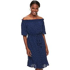 Women's ELLE™ Dot Off-the-Shoulder Dress