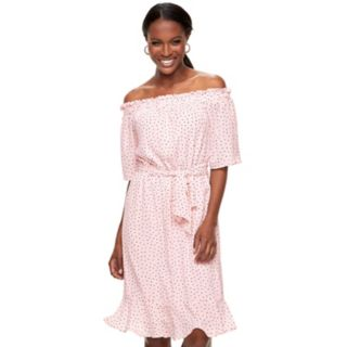Women's ELLE Dot Off-the-Shoulder Dress