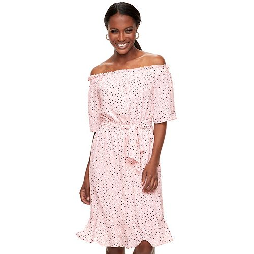 Women's ELLE™ Dot Off-the-Shoulder Dress