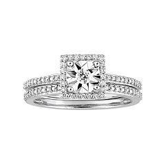 Stella Grace 10k White Gold 1/4 Carat T.W. Diamond Square Halo Ring