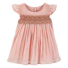 Baby Girl OshKosh B'gosh® Lace Pleated Chiffon Dress