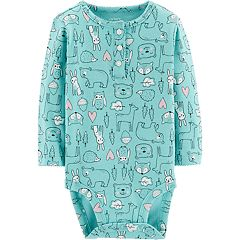 Baby Girl Carter's Woodland Print Henley Bodysuit