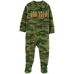 Baby Boy Carter's Camo 'Awesome Brother' Microfleece Footed Pajamas