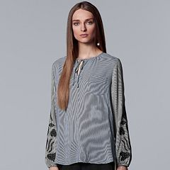 Women's Simply Vera Vera Wang Embroidered Striped Peasant Top