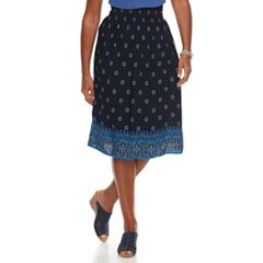 Women's Croft & Barrow Smocked Challis Midi Skirt
